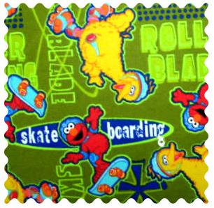 Fabric Shop - Sesame Street Skating Fabric - Yard - 100% Cotton Flannel - Character Prints Fabric Shop
