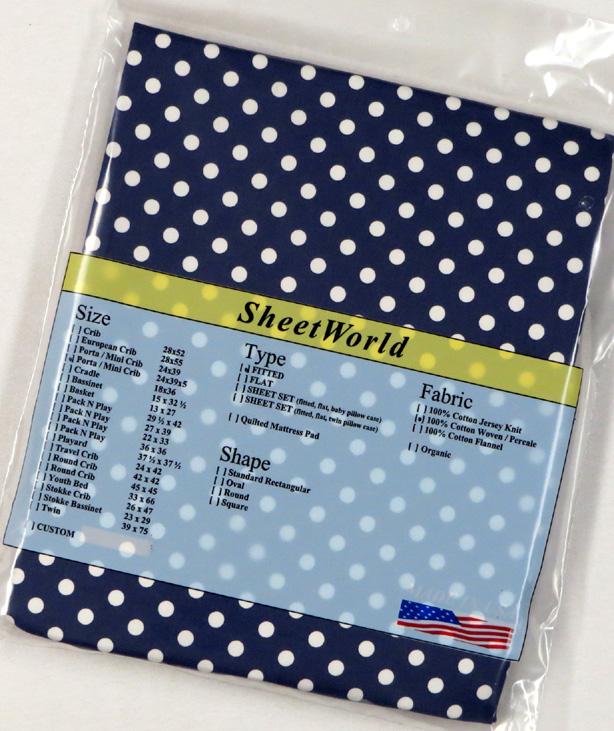 Polka Dots Navy Extra Deep Cotton Portable / Mini Crib Sheet - 24 x 38 x 5.5