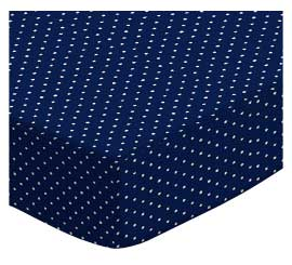 Basket - Primary Pindots Navy Woven - Fitted - 100% Cotton Woven - Primary Polka Dots Basket Sheets