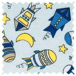Rocket Ships Blue Fabric