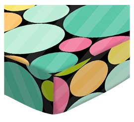 Oval (Stokke Mini) - Primary Colorful Dots Black - Fitted Oval - 100% Cotton Woven - Modern Print Collection Oval Sheets