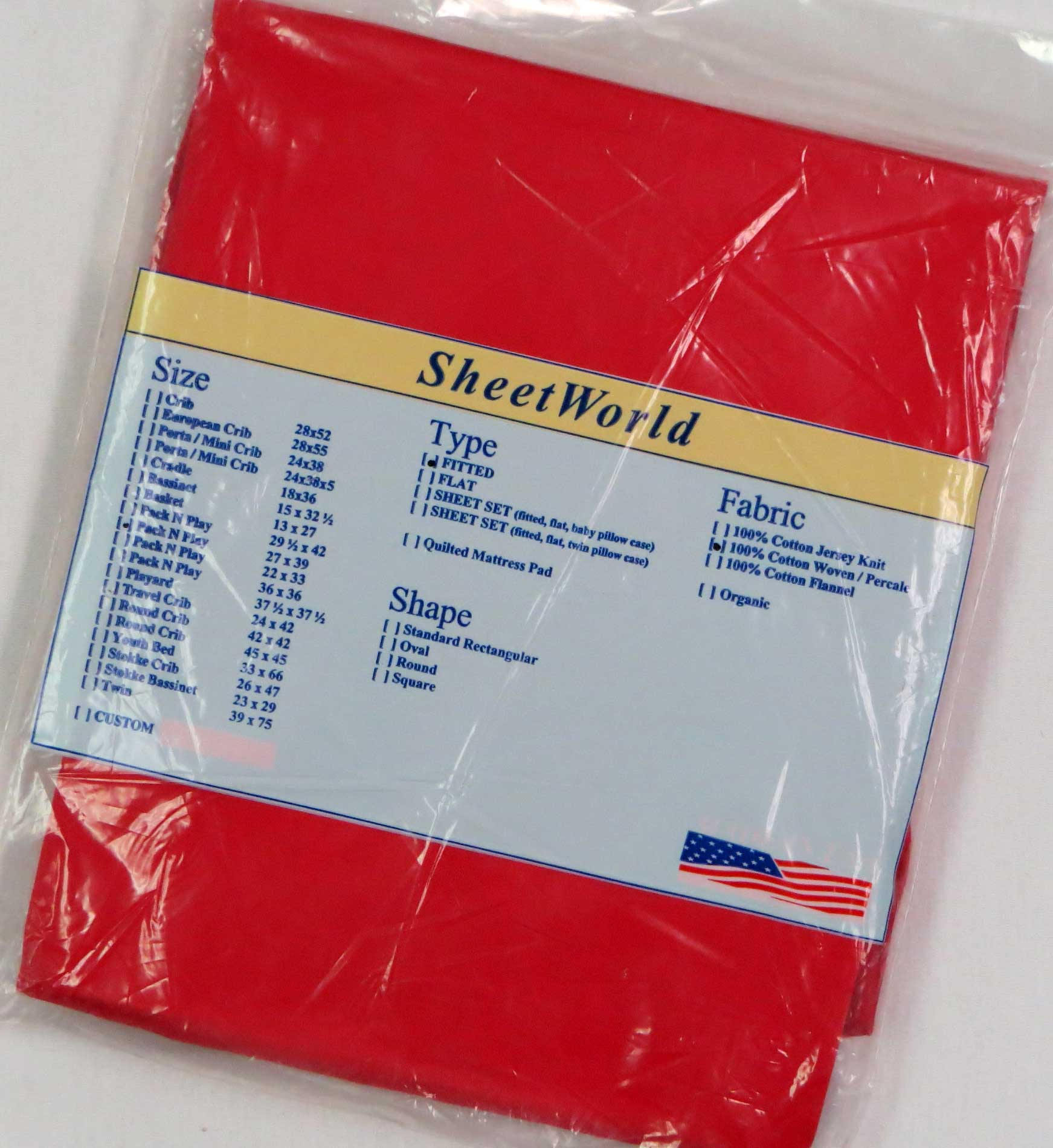 Solid Red Cotton Fitted Pack N Play Sheet - Fits Graco - 27 x 39