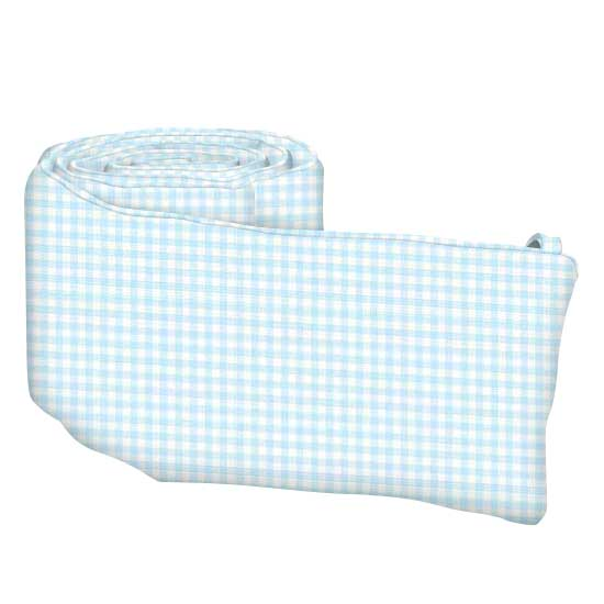 Blue Gingham Cotton Jersey Knit Crib Bumper