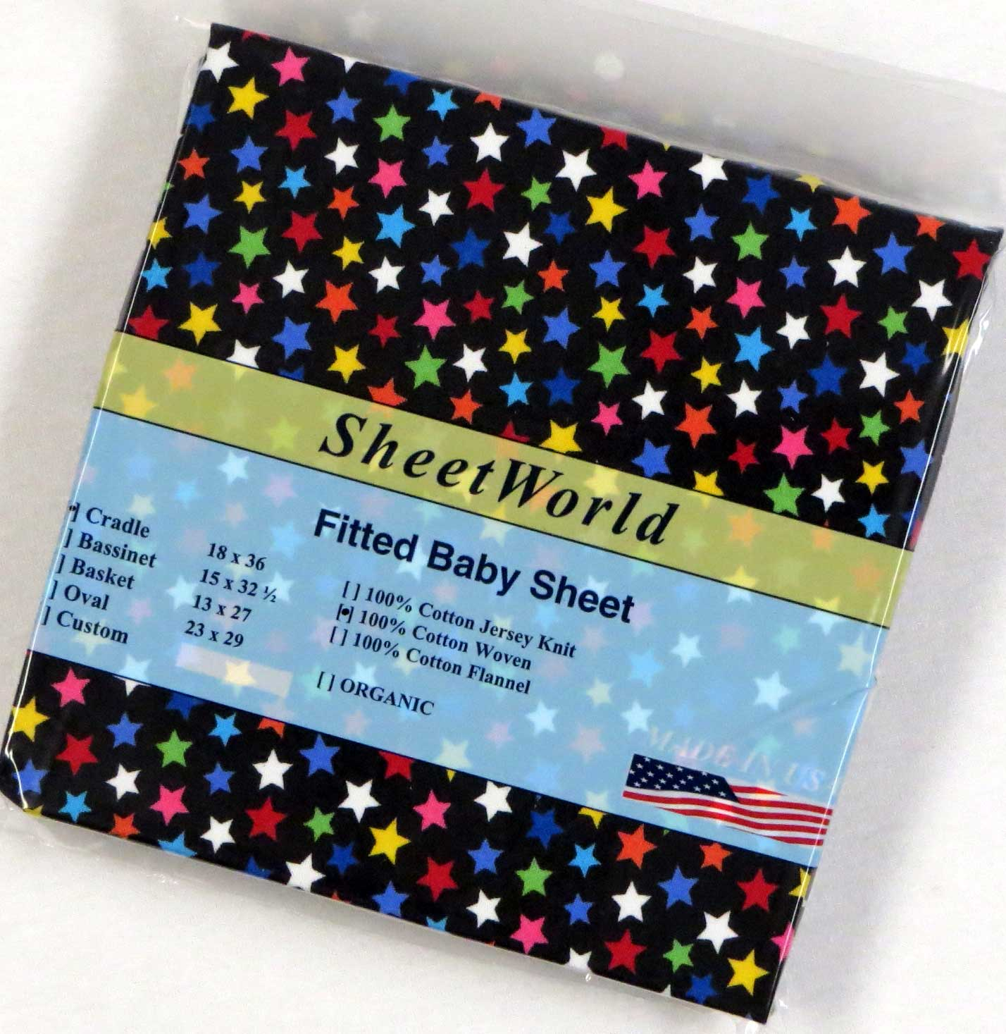 Colorful Stars Black Cotton Woven Cradle Sheet 18x36