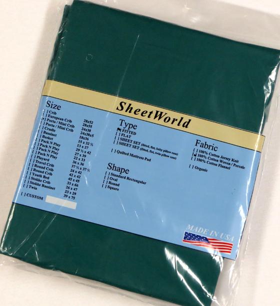 Hunter Green Cotton Portable / Mini Crib Sheet - 24 x 38