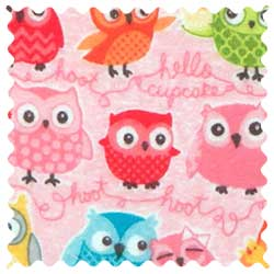 Owls Pink Fabric
