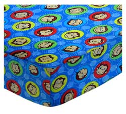 Basket - Curious George Blue - Fitted - 100% Cotton Percale - Character Prints - Kid Characters Basket Sheets