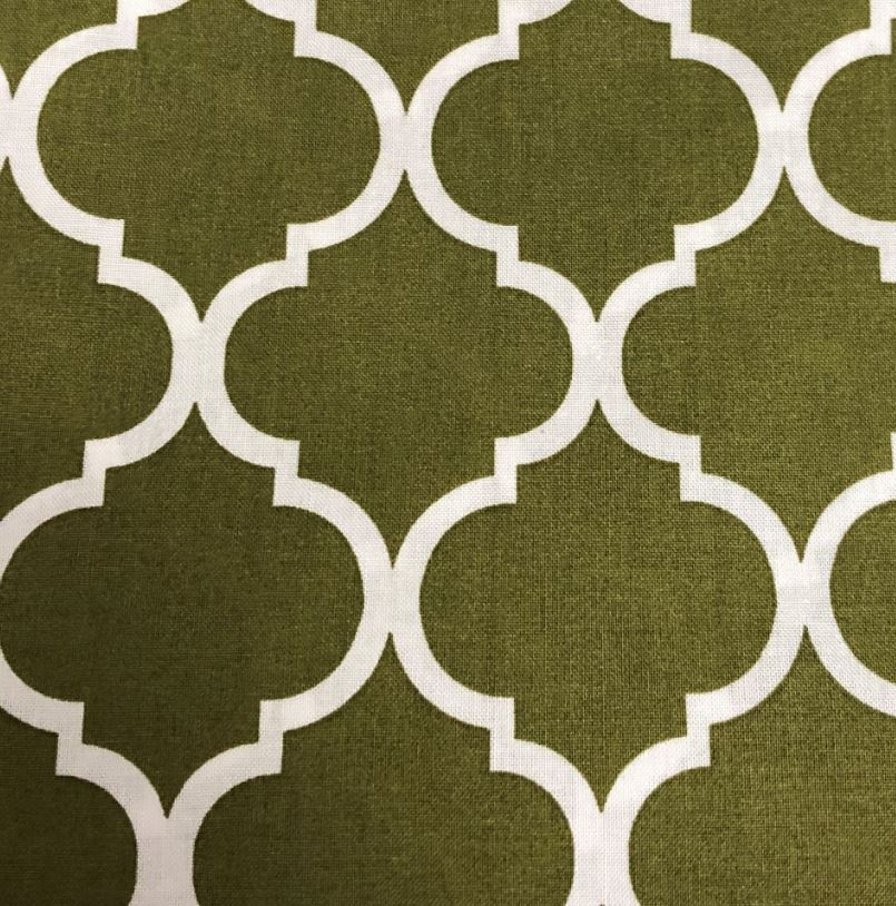 Sage Quatrefoil Fabric - 100% Cotton - 36 x 45 inches