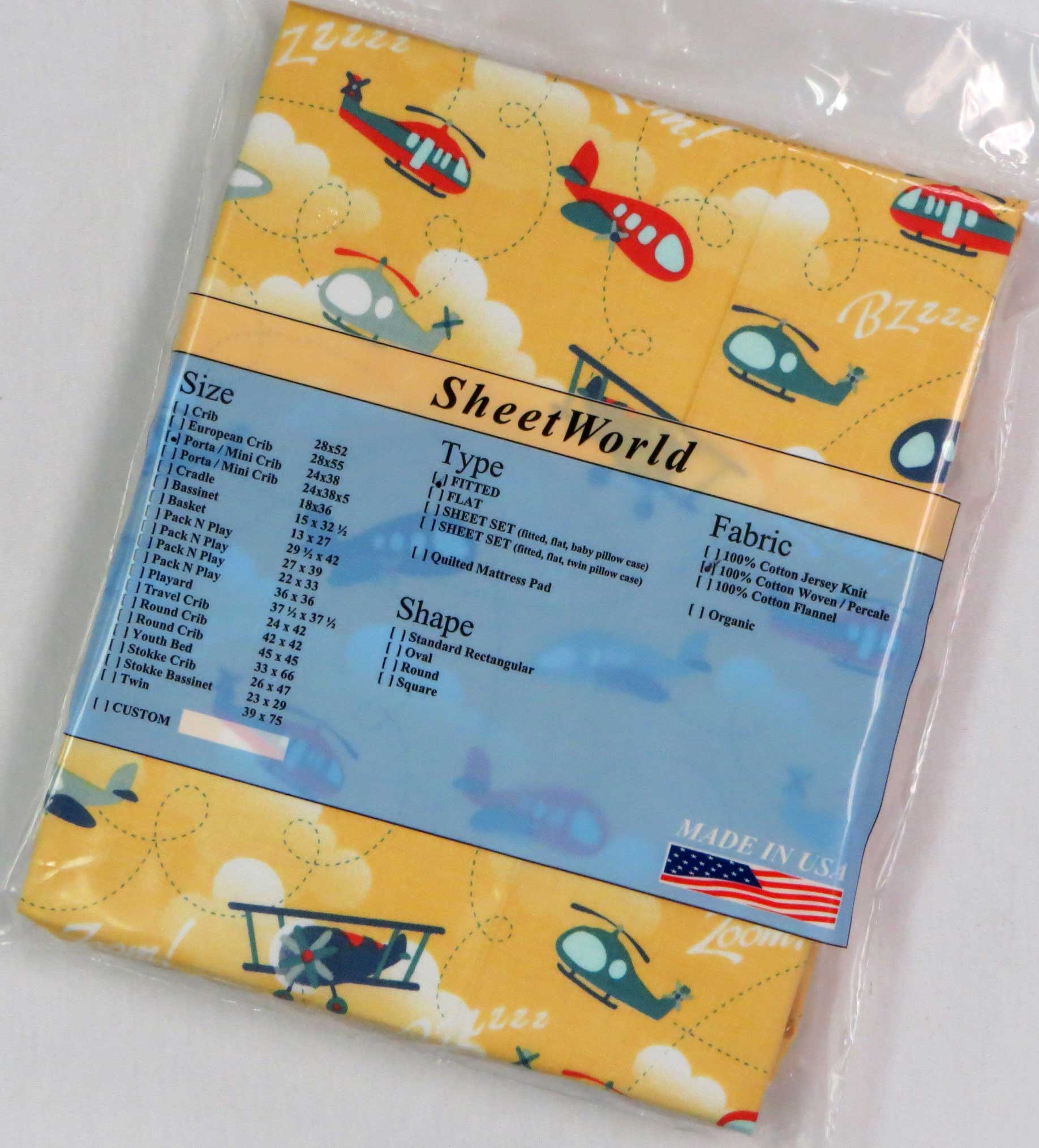 Airplanes Yellow Cotton Portable / Mini Crib Sheet - 24 x 38
