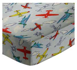 Travel Crib Light (Fits BabyBjorn) - Kiddie Airplanes - Fitted - 100% Cotton Percale - Baby Transport Travel Crib Light Sheets