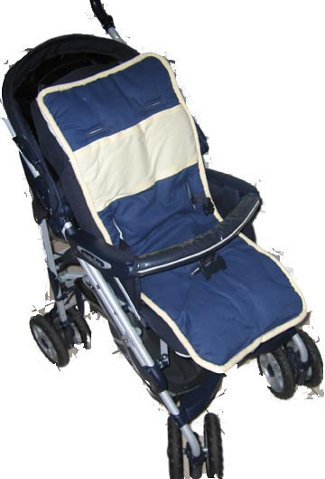 Navy & Yellow Solid Stroller Liner