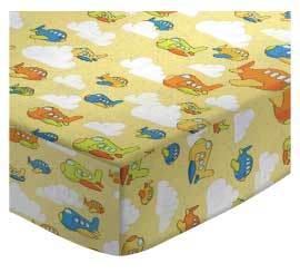 Round Crib - Airplanes Yellow - 42'' Fitted - 100% Cotton Percale - Baby Transport Round Crib Sheets