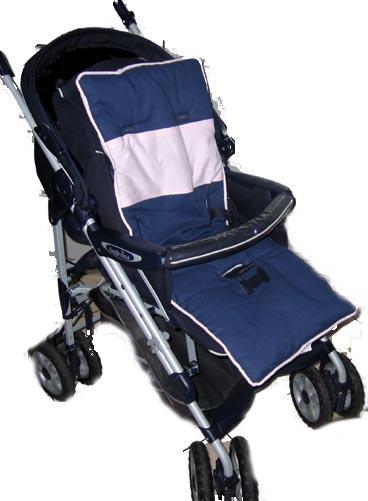 Navy & Pink Solid Stroller Liner