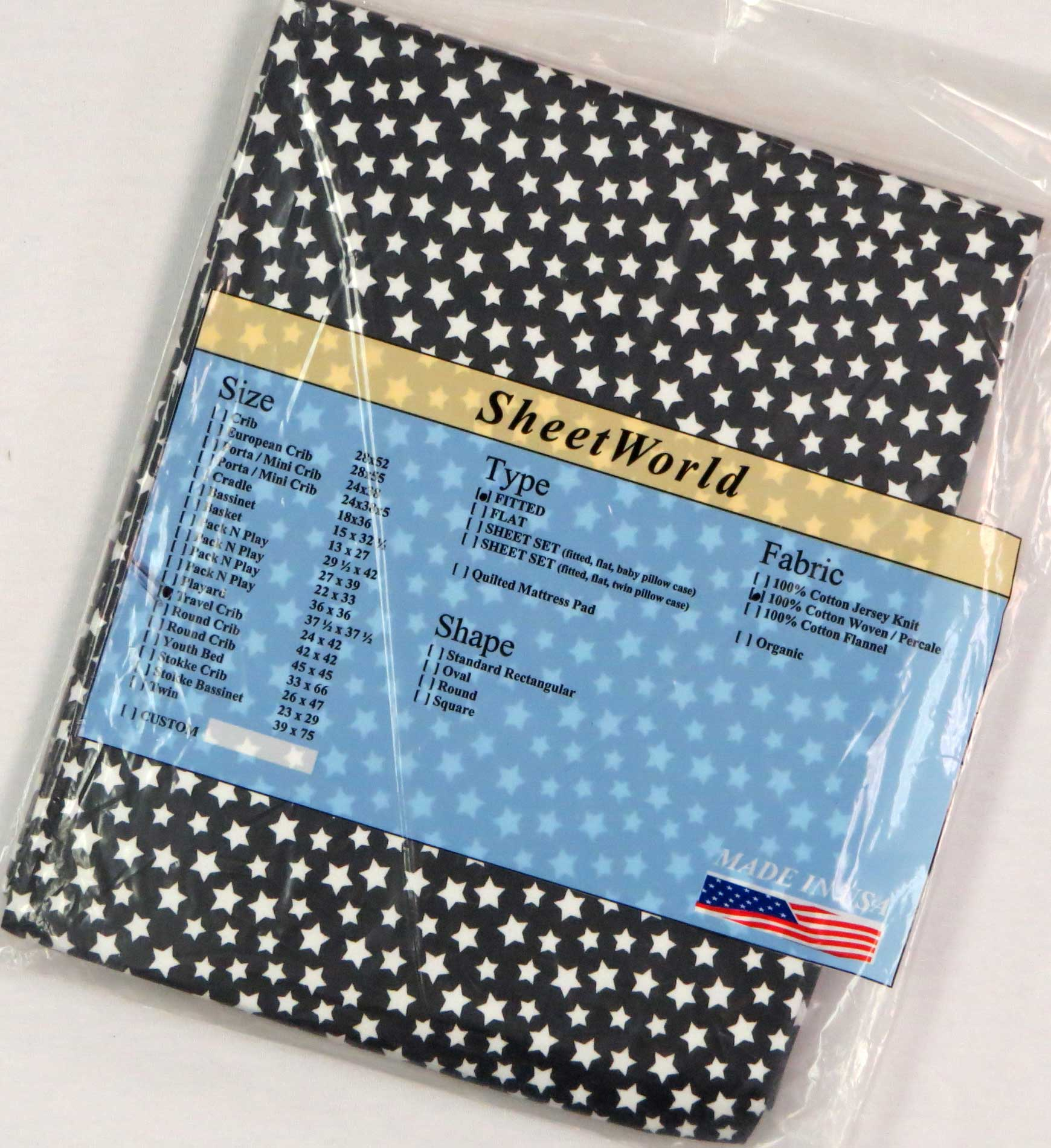 White Black Stars Cotton Percale Travel Lite Playard Sheet - Fits BabyBjorn 24 x 42