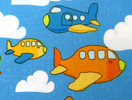 European Crib - Airplanes Blue - Flat - 100% Cotton Percale - Baby Transport European Crib Sheets