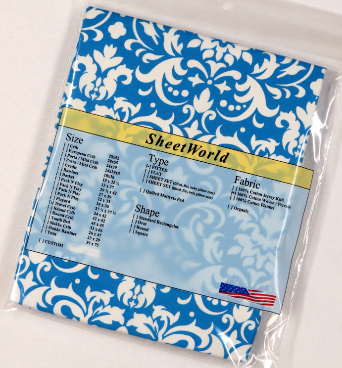 Blue Damask Cotton Percale Travel Lite Playard Sheet - Fits BabyBjorn 24 x 42