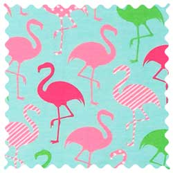 Flamingos Aqua Jersey Fabric