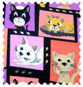 Fabric Shop - Cat Pose Fabric - Yard - 100% Cotton Flannel - Baby Animal Prints Fabric Shop