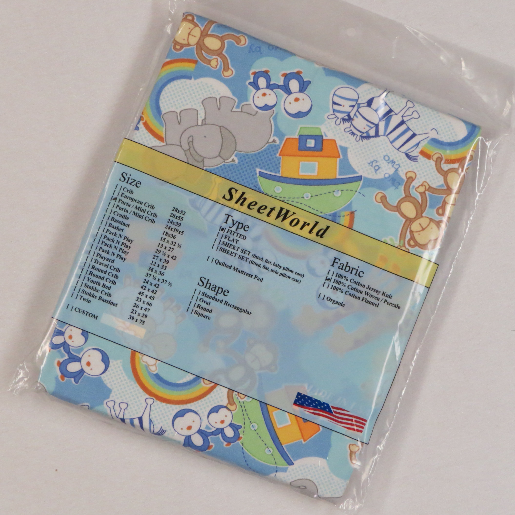 Noahs Ark Cotton Portable / Mini Crib Sheet - 24 x 38