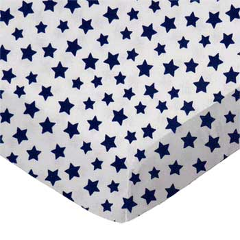 Pack N Play (Large) - Primary Stars Navy On White Woven - Fitted - 100% Cotton Woven - Primary Hearts and Stars Pack N Play Sheets
