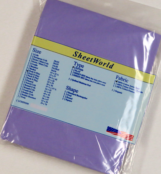 Solid Lavender Cotton Jersey Fitted Pack N Play Sheet - Fits Graco - 29 x 42
