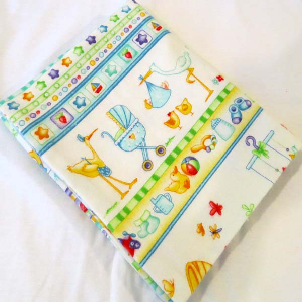 Blue Clothesline Flannel Baby Pillow Case