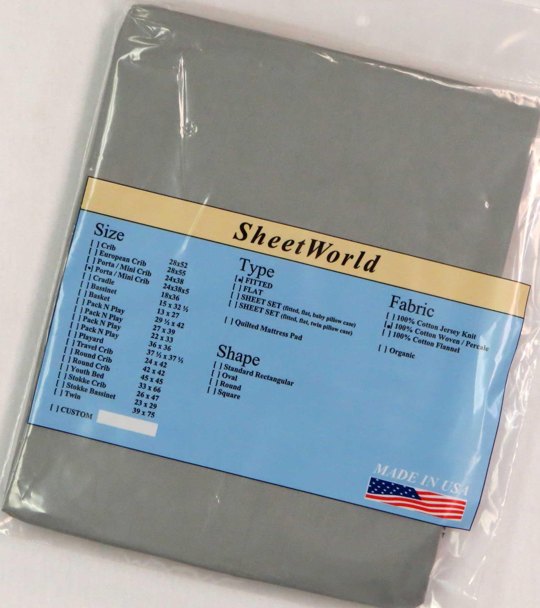 Solid Gray Cotton Portable / Mini Crib Sheet - 24 x 38 x 5