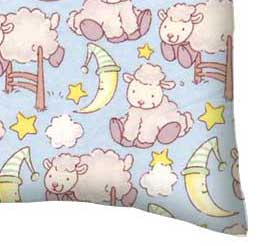 Flannel Pillow Case - Baby Lambs Blue