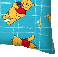 Flannel Pillow Case - Pooh Blue Grid