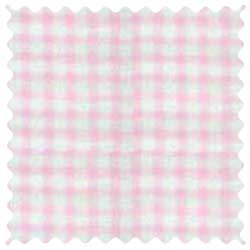 Organic Pink Gingham Jersey Knit Fabric