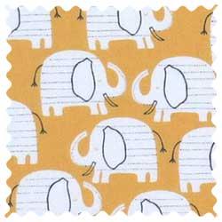 Baby Elephants Yellow Fabric
