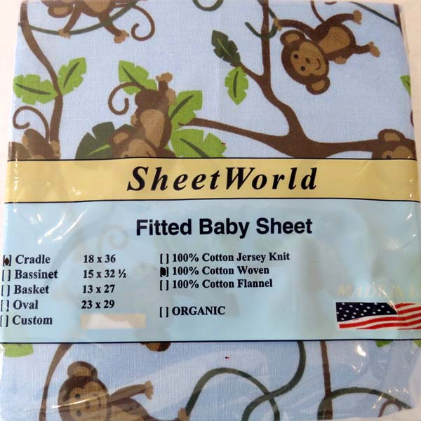 Blue Monkey Vine Cotton Cradle Sheet