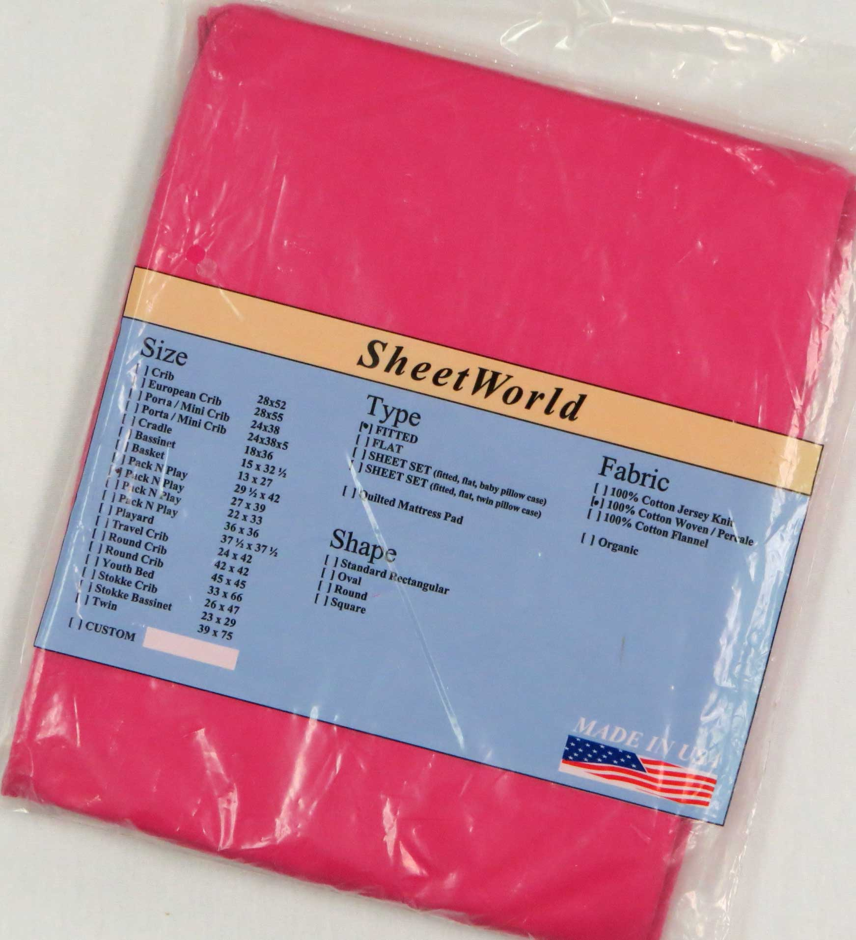 Solid Hot Pink Cotton Fitted Pack N Play Sheet - Fits Graco - 27 x 39