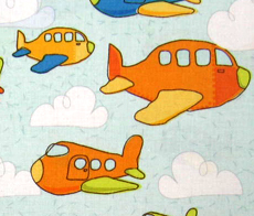 European Crib - Airplanes Pale Blue - Flat - 100% Cotton Percale - Baby Transport European Crib Sheets