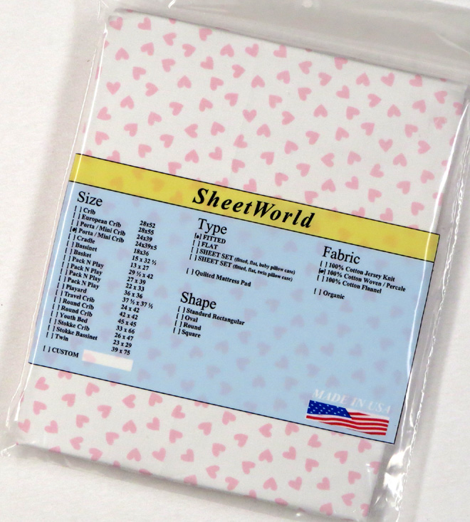 Pink Hearts Extra Deep Cotton Portable / Mini Crib Sheet - 24 x 38 x 5.5