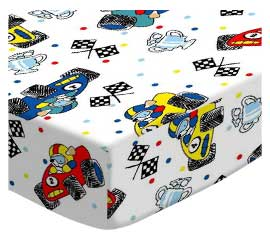 Oval (Stokke Mini) - Fun Race Cars - Fitted Oval - 100% Cotton Percale - Baby Transport Oval Sheets