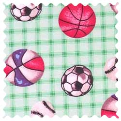 Sports Green Grid Fabric