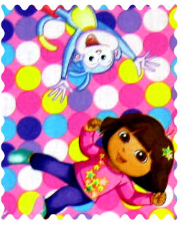 Fabric Shop - Dora Best Friends Fabric - Yard - 100% Cotton Percale - Character Prints - Kid Characters Fabric Shop