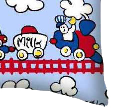 Percale Pillow Case - Fun Train Tracks
