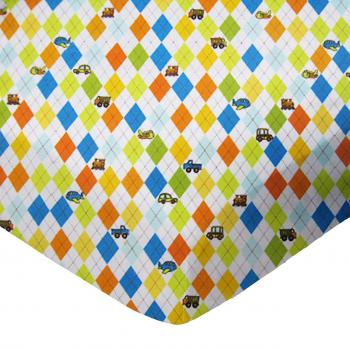 Pack N Play (Graco) - Argyle Transport - Fitted - 100% Cotton Flannel - Baby Transport Pack N Play Sheets