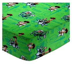 European Crib - Buzz Light Year Green - Fitted - 100% Cotton Percale - Character Prints - Kid Characters European Crib Sheets