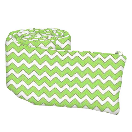Lime Chevron Cotton Woven Cradle Bumper