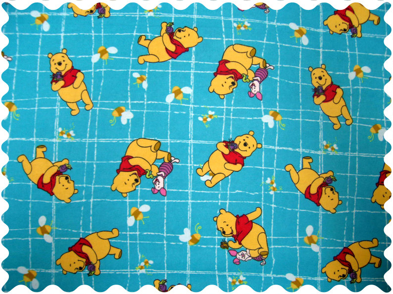 Winnie The Pooh Blue Fabric - 100% Cotton Flannel - 36 x 40 inches