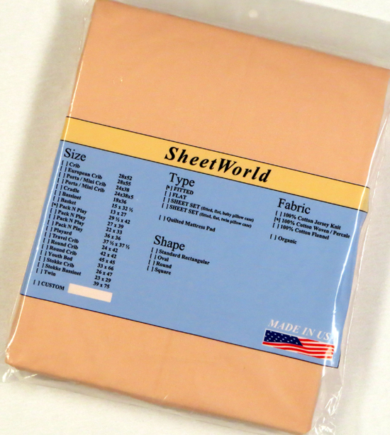 Solid Peach Cotton Fitted Pack N Play Sheet - 29 x 42