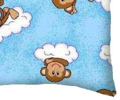 Percale Pillow Case - Monkeys Blue