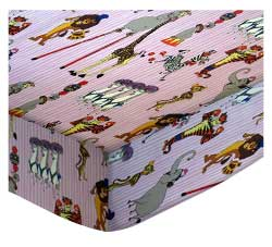 Square Playard (Graco) - Madagascar Pink - Fitted - 100% Cotton Percale - Character Prints - Kid Characters Square Sheets