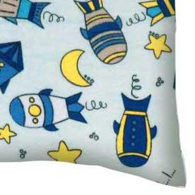 Flannel Pillow Case - Rocket Ships Blue