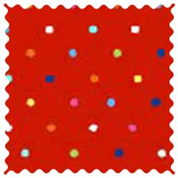 Primary Colorful Pindots Red Woven Fabric