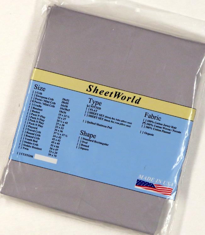 Solid Gray Cotton Extra Deep Cotton Portable / Mini Crib Sheet - 24 x 38 x 5.5