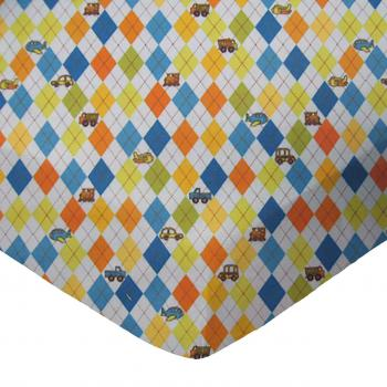 Square Playard (Graco) - Argyle Transport Blue - Fitted - 100% Cotton Flannel - Baby Transport Square Sheets